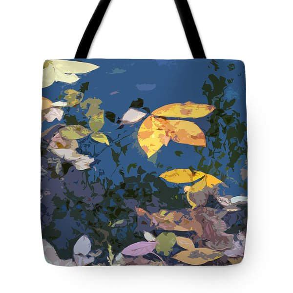 Autumn Leaves On The Pond Tote Bag by Spyder Webb