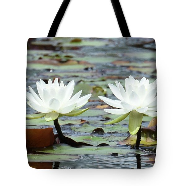 Tote Bag featuring the photograph Pond Lily Explosion by Sally Sperry