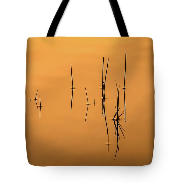 Pond Reeds In Reflected Sunrise Tote Bag