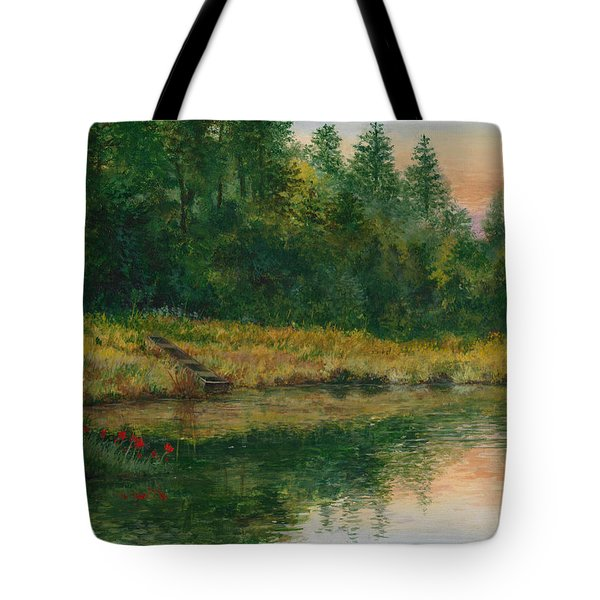 Pond With Spider Lilies Tote Bag