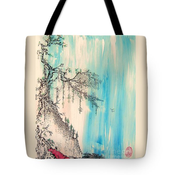 Tote Bag featuring the painting Pondering Tranquility by Roberto Prusso