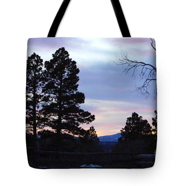 Ponderosa Pine Sunset Silhouette Tote Bag