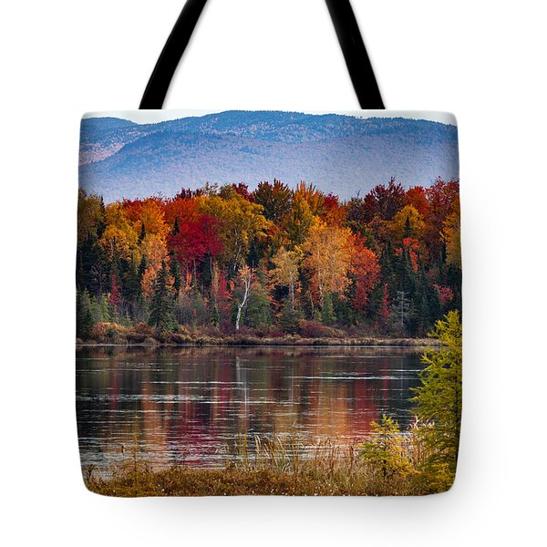 Tote Bag featuring the photograph Pondicherry Fall Foliage Reflection by Jeff Folger
