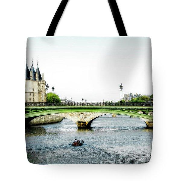 Pont Au Change Over The Seine River In Paris Tote Bag