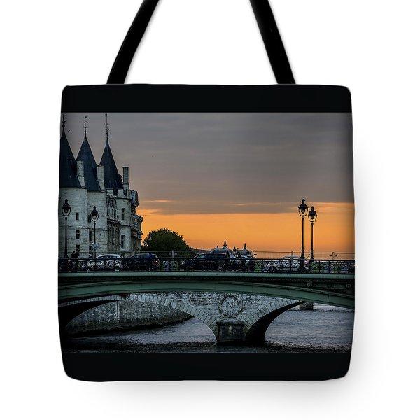 Pont Au Change Paris Sunset Tote Bag