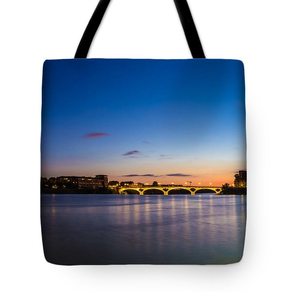 Tote Bag featuring the photograph Pont Des Catalans And Garonne River At Night by Semmick Photo