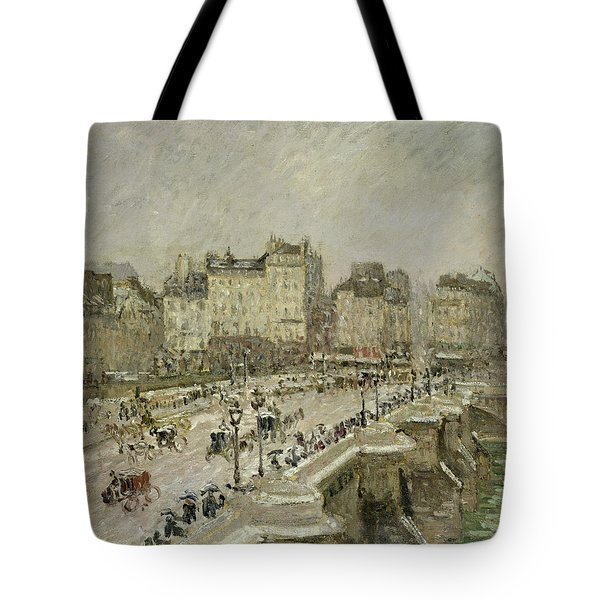Pont Neuf Snow Effect Tote Bag by Camille Pissarro