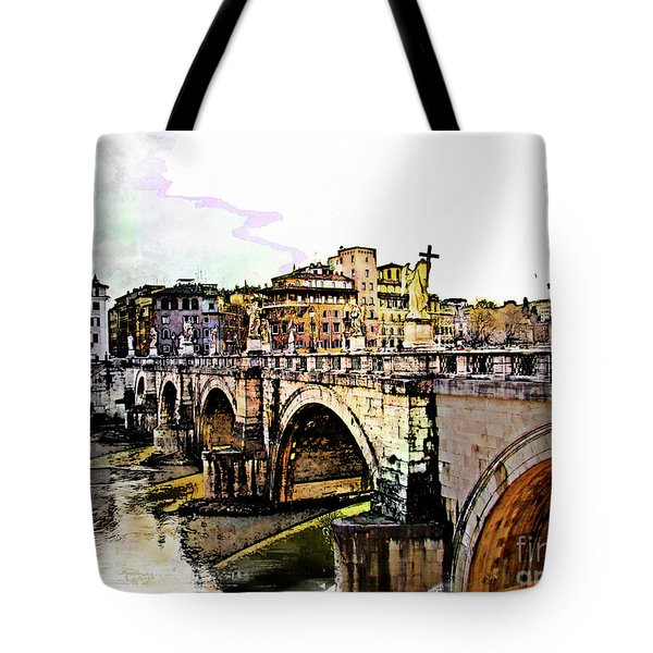 Ponte San Angelo, Rome, Italy Tote Bag