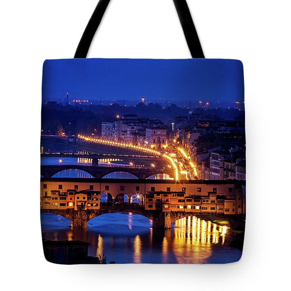 Tote Bag featuring the photograph Ponte Vecchio At Twilight by Andrew Soundarajan