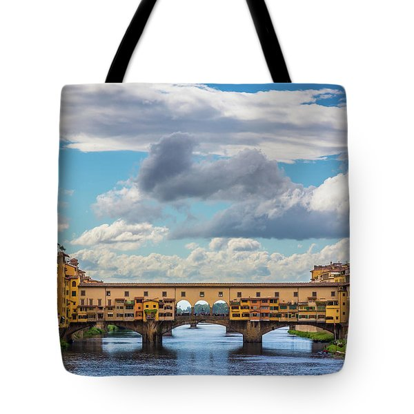 Ponte Vecchio Clouds Tote Bag