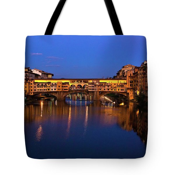 Ponte Vecchio Dusk  Tote Bag by Harry Spitz