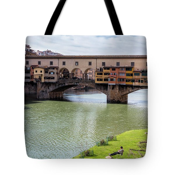 Tote Bag featuring the photograph Ponte Vecchio Florence Italy II by Joan Carroll