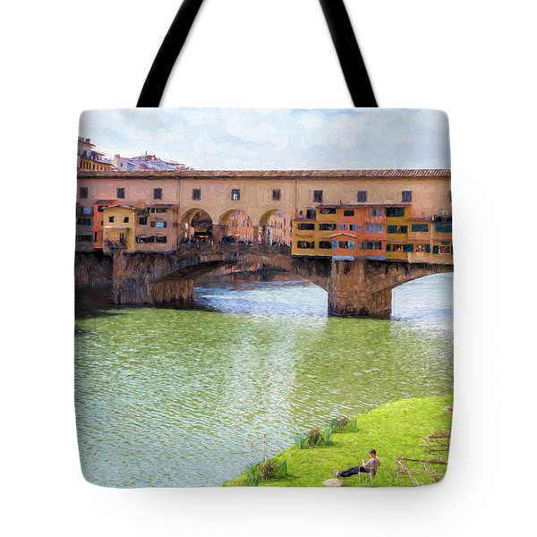 Tote Bag featuring the photograph Ponte Vecchio Florence Italy II Painterly by Joan Carroll