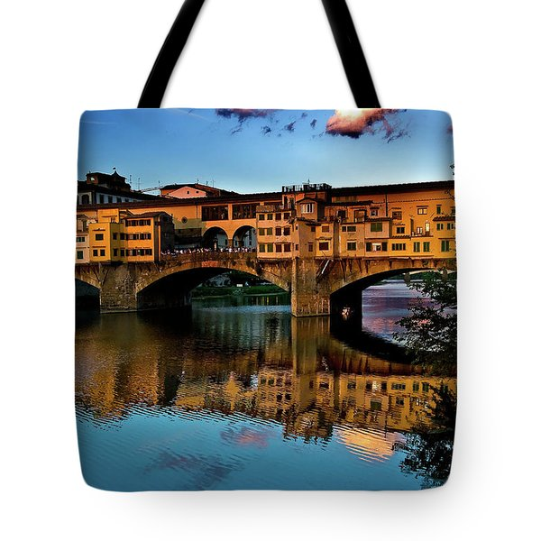 Tote Bag featuring the photograph Ponte Vecchio From West  by Harry Spitz