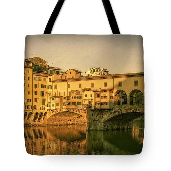 Tote Bag featuring the photograph Ponte Vecchio Morning Florence Italy by Joan Carroll