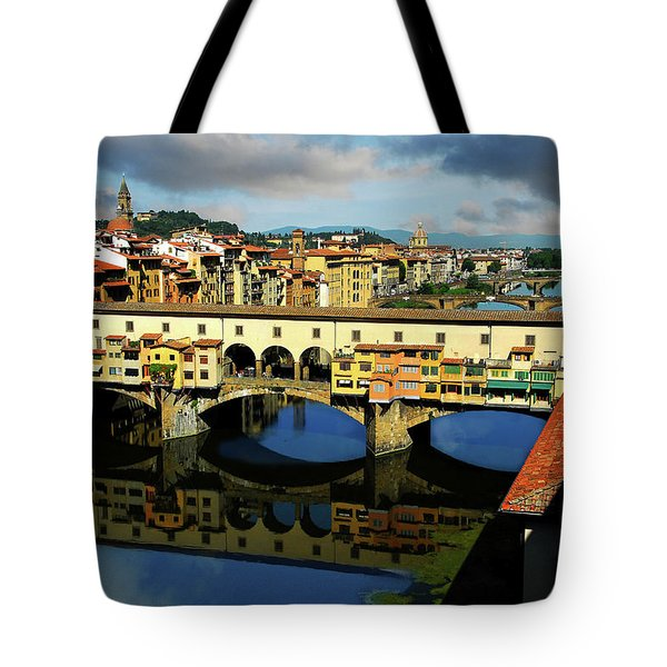 Ponte Vecchio View  Tote Bag by Harry Spitz