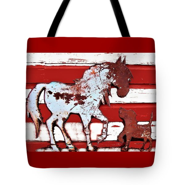 Tote Bag featuring the photograph Pony And Pup by Larry Campbell