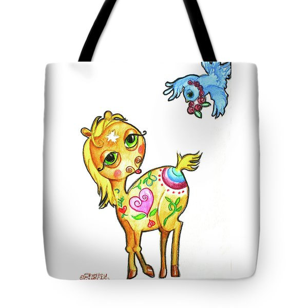 Pony And The Bluebird Watercolor Pencil Art Tote Bag