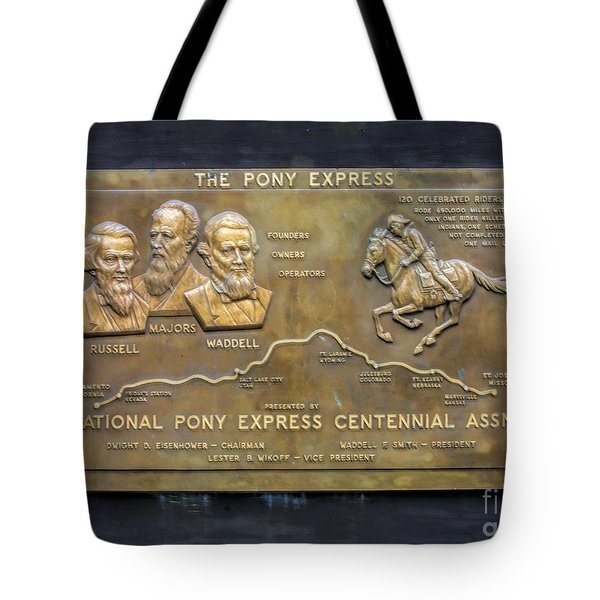 Pony Express Brass Plaque Tote Bag