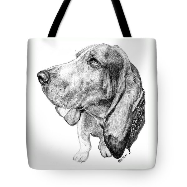 Tote Bag featuring the drawing Pooch by Mike Ivey