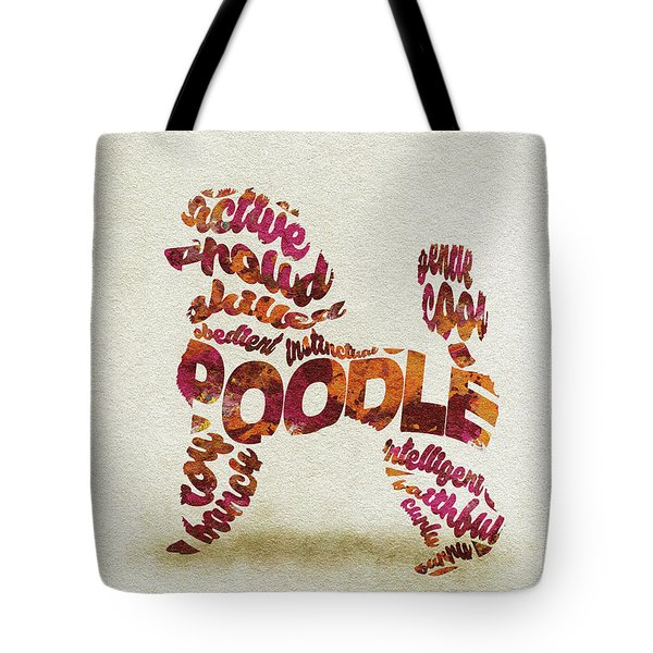 Tote Bag featuring the painting Poodle Dog Watercolor Painting / Typographic Art by Inspirowl Design
