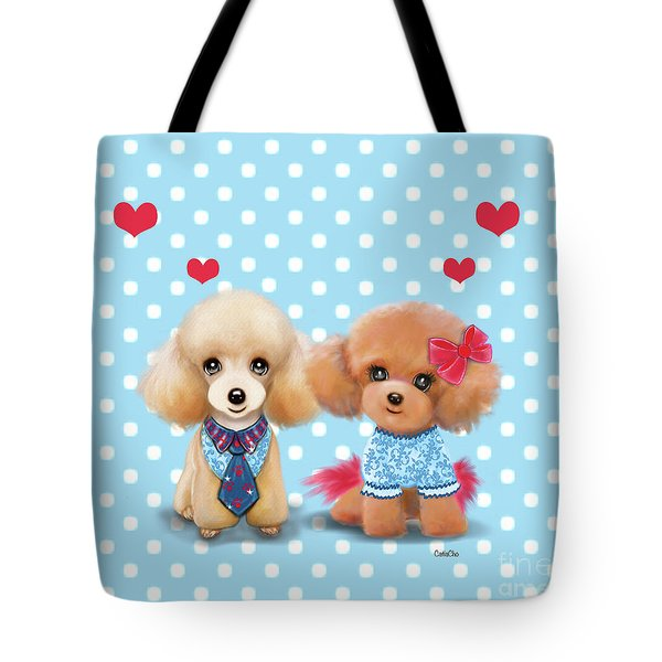 Tote Bag featuring the painting Poodles Are Love by Catia Lee