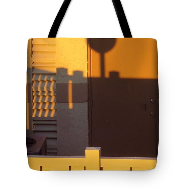 Pool House Shadow At Sunrise. Tote Bag