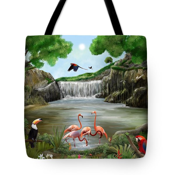 Tote Bag featuring the digital art Pool Party by Mark Taylor