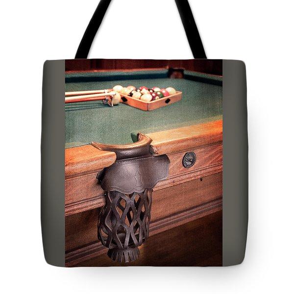 Pool Table Leather Mesh Side Pocket Tote Bag