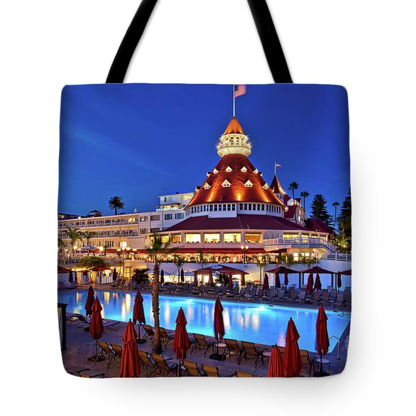 Tote Bag featuring the photograph Poolside At The Hotel Del Coronado  by Sam Antonio Photography