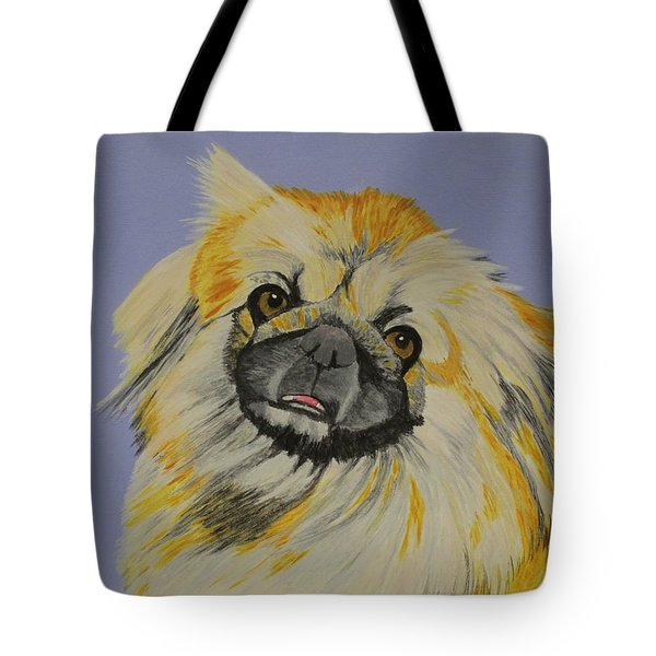 Tote Bag featuring the painting Poopan The Pekingese by Hilda and Jose Garrancho