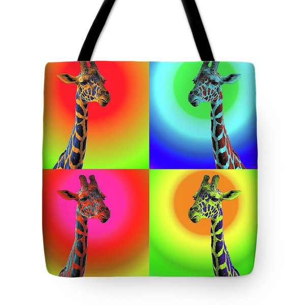 Tote Bag featuring the photograph Pop Art Giraffe by James Sage