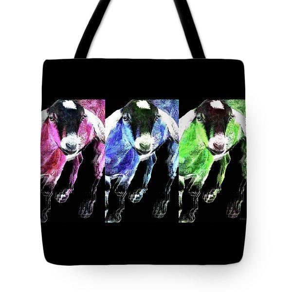 Pop Art Goats Trio - Sharon Cummings Tote Bag by Sharon Cummings