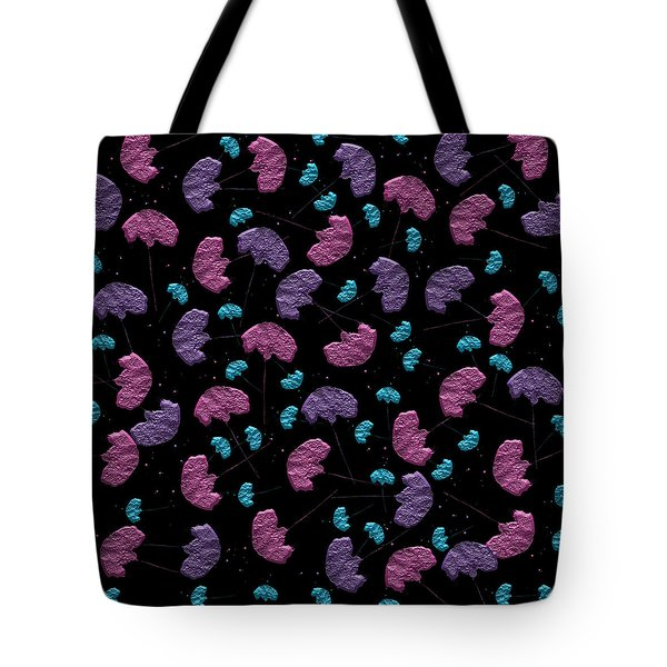 Tote Bag featuring the digital art Pop Rock Flowers On Black Background by Shelley Neff