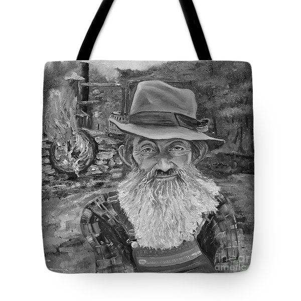 Popcorn Sutton - Black And White - Rocket Fuel Tote Bag by Jan Dappen