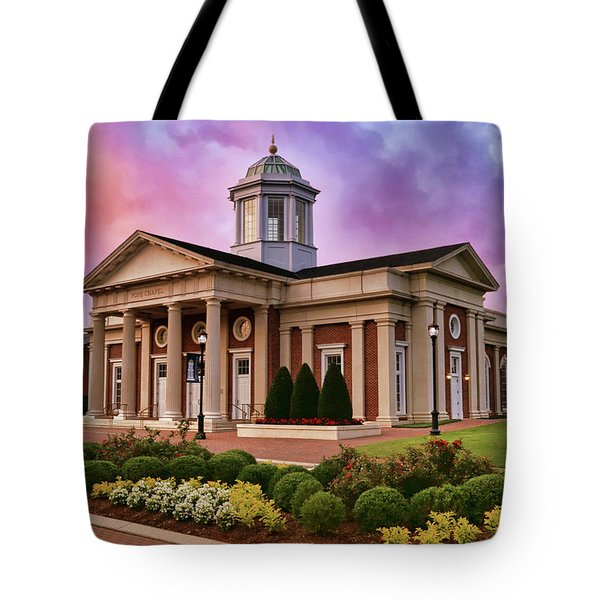 Pope Chapel Under Colorful Sky Tote Bag