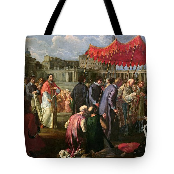 Pope Clement Xi In A Procession In St. Peter's Square In Rome Tote Bag by Pier Leone Ghezzi
