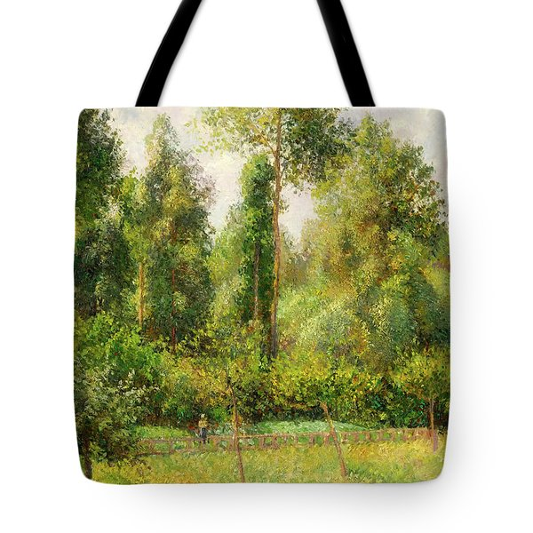 Tote Bag featuring the painting Poplars - Eragny by Camille Pissaro
