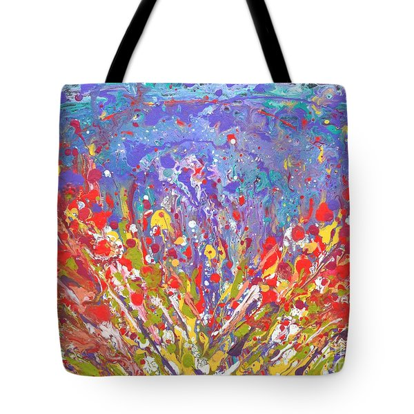 Poppies Abstract Meadow Painting Tote Bag