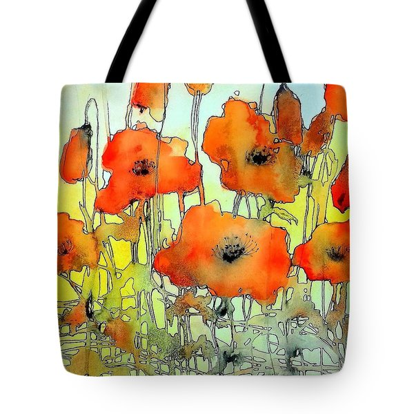 Poppies Abstraction Tote Bag