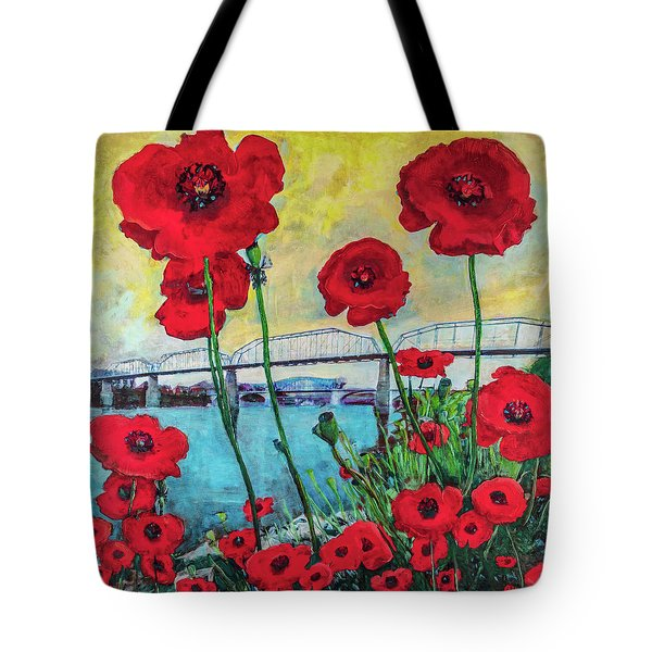 Poppies Along The Riverfront Tote Bag