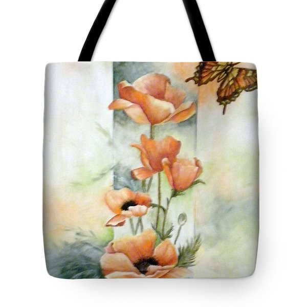 Poppies And Butterfly Tote Bag