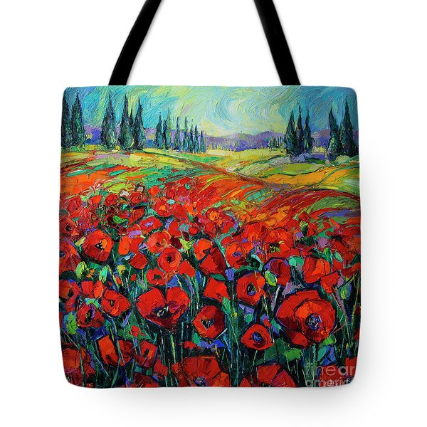 Poppies And Cypresses - Modern Impressionist Palette Knives Oil Painting Tote Bag