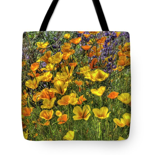 Tote Bag featuring the photograph Poppies And Lupines by Jim and Emily Bush