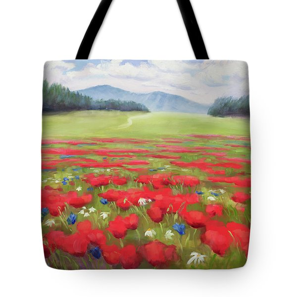 Poppies And Thunderclouds Tote Bag