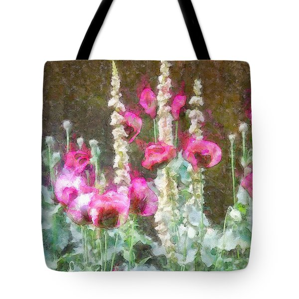 Poppies And Verbascum 2 Tote Bag by Shirley Stalter