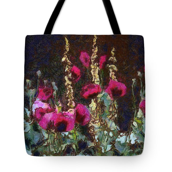 Poppies And Verbascum Tote Bag by Shirley Stalter