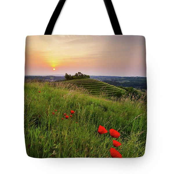 Poppies Burns Tote Bag