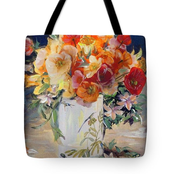 Poppies, Clematis, And Daffodils In Porcelain Vase. Tote Bag
