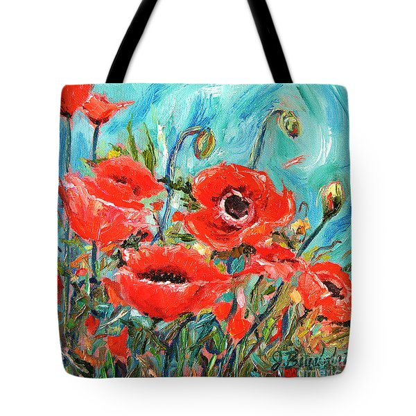 Tote Bag featuring the painting Poppies Delight by Jennifer Beaudet